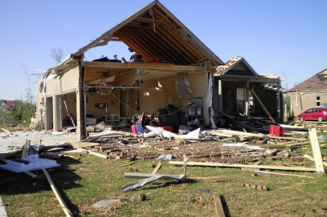 Pictured above is the aftermath of F5 tornado hitting TilleryAca,!a,,cs Athens home on April 27 in Athens, Ala. She and her family survived unharmed. Courtesy photo by Sue Tillery.