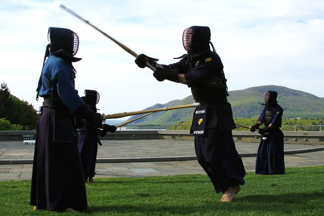 Members of the Cadet Kendo Club, led by West Point Class of 2012 Cadet June Kimm, provide Kendo demonstrations at the Asian-Pacific American Heritage Month May 6 at Trophy Point. The festival is held every year in honor of Asian-Pacific American heritage and its significant contributions, such as Chinese immigrants building American railroads. The festival provided food samplings, cultural dances and a martial arts demonstration.