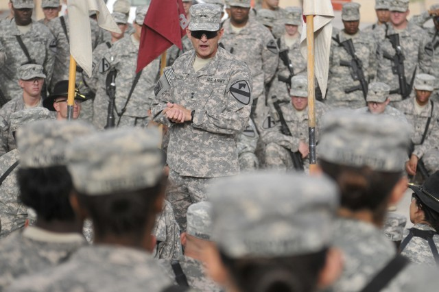 CONTINGENCY OPERATING SITE MAREZ, Iraq - Maj. Gen. Daniel Allyn, commanding general of 1st Cavalry Division, speaks with Soldiers assigned to 4th Advise and Assist Brigade, 1st Cav. Div., during a visit to Contingency Operating Site Marez, near Mosul, Iraq, May 7, 2011. Prior to joining 1st Cav. Div. troops in Afghanistan, Allyn thanked the deployed Fort Hood troopers for their hard work and dedication to the 4th AAB's advise, train and assist mission in support of Operation New Dawn.