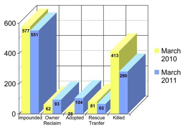 Comparisons between March 2010 and March 2011 show the number of animals euthanized was greatly reduced in 2011 thanks to seeing an increase in adoptions and owners reclaiming their pets.