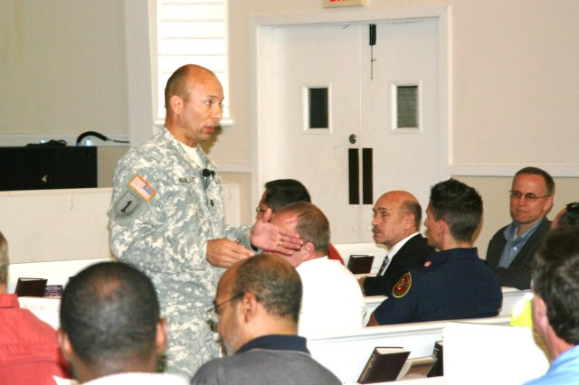 Funding, construction projects and garrison accomplishments were the major topics during Hunter Army Airfield Garrison Commander Lt. Col. Jose Aguilar's final State of the Garrison to Civilians and Soldiers at Hunter's Main Post Chapel, May 5.