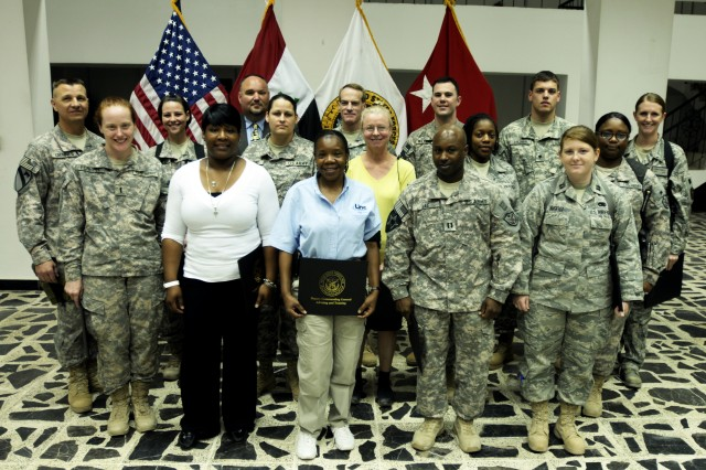 BAGHDAD -- The United States Forces-Iraq Deputy Commanding General for Advising and Training recognized 17 members of the A&T team for their commitment to post-secondary education while deployed in support of Operation New Dawn, during an awards ceremony at the Babylon Conference Center here May 4.
