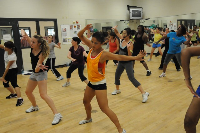Students groove to high-energy music during Zumba at Tominac Fitness Center. Zumba, a Latin dance-based exercise class, is one of the five classes offered at Tominac as part of the Bodyshock fitness program.