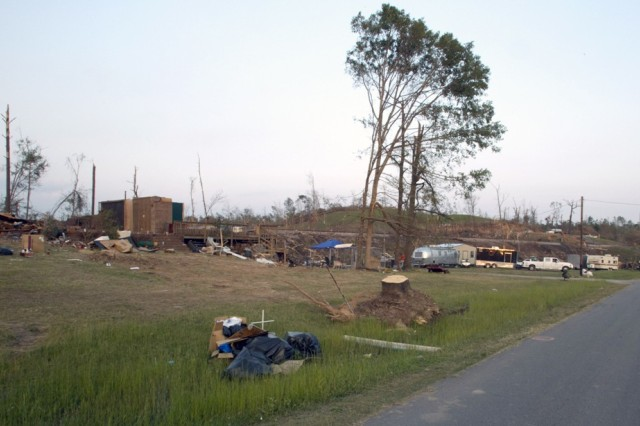 Reads Mill Road in northern Calhoun County is home to some of Anniston Army Depot's employees. The area was devestated by the April 27 storms.