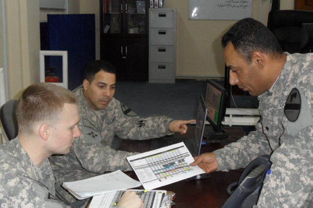 BASRAH, Iraq - Spc. Ehab Amir, 09L Linguist for the Basrah Operations Command Team, and Sgt. Cohen Kanewske, noncommisioned officer in charge, cover the 12-hour day shift coordinating Joint Iraqi escorts for United States Forces-Iraq missions and patrols with Maj. Luis Cruz.