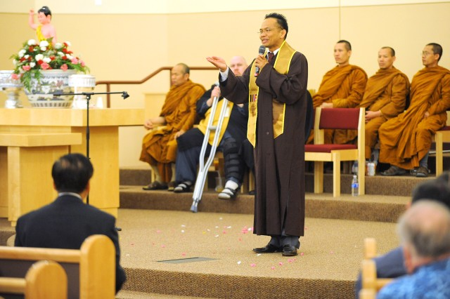 Chaplain (Capt.) Somya Malasri, 593rd Sustainment Brigade, was a monk in Thailand before disrobing to join the Army. Malasri is the first and only active-duty Buddhist chaplain in the Army.