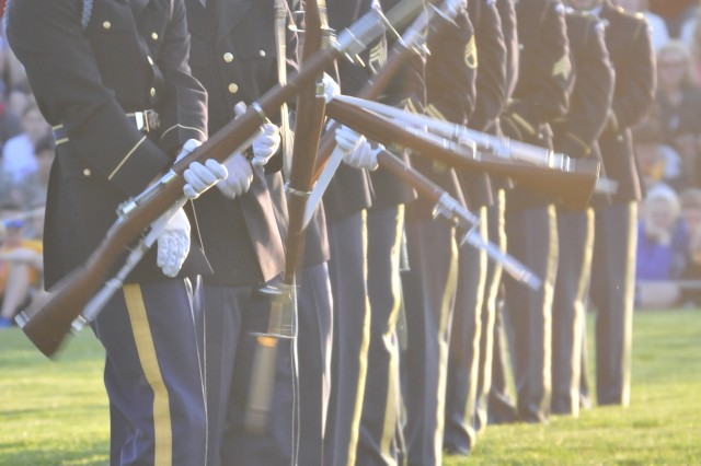 The United States Army Drill Team, 3d U.S. Infantry Regiment (The Old Guard), performs during Twilight Tattoo on May 11, 2011 at Fort Lesley J. McNair, Washington, D.C. The Drill Team performs with bayonet tipped 1903 Springfield rifles. (U.S. Army photo