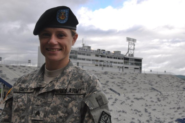 Sgt. Margaret Smith, 742nd Military Intelligence Battalion, 704th MI Brigade, earned her bachelor's degree online at Pennsylvania State University while serving on active duty at Fort Meade. She will receive her diploma Saturday.