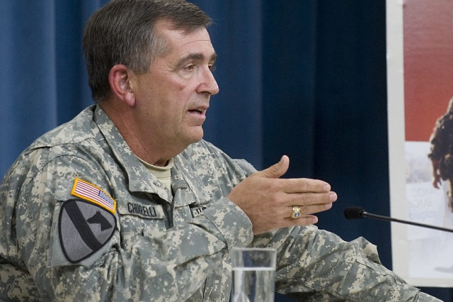 Vice Chief of Staff of the Army Gen. Peter Chiarelli, discusses the Army's Health Promotion, Risk Reduction, and Suicide Prevention Report during a press conference at the Pentagon, Washington, D.C., July 29, 2010.