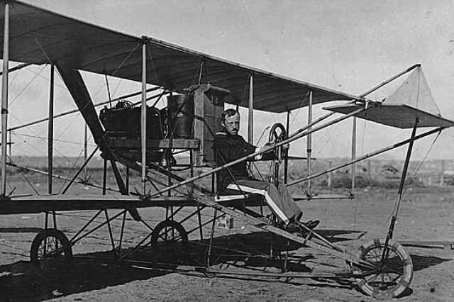 2nd Lt. George E.M. Kelly poses in one of the Curtiss training planes. Kelly died in an aircraft crash at nearby Fort Sam Houston 100 years ago and was the first member of the U.S. military killed in the crash of an airplane that he was piloting.