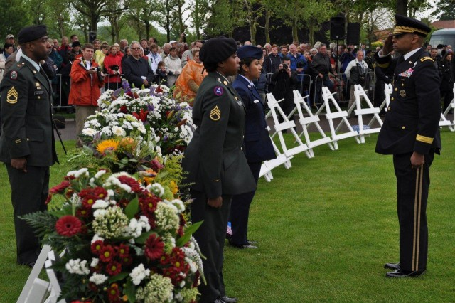 This 67th Memorial Day service will feature Dutch and American dignitaries, the laying of more than 70 wreaths by numerous national delegations, choral music and a flyover by the Royal Dutch Air Force. In this photo, Maj. Gen. Byron S. Bagby, Director of
