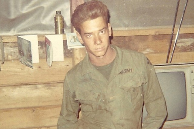 Then Pfc. Thomas Rogers, 4th Infantry Division, enjoys Christmas 1969 at Camp Enari, Vietnam.  Rogers is retiring as a Sgt. 1st Class after enlisting 42 years ago in the Army. (Courtesy)