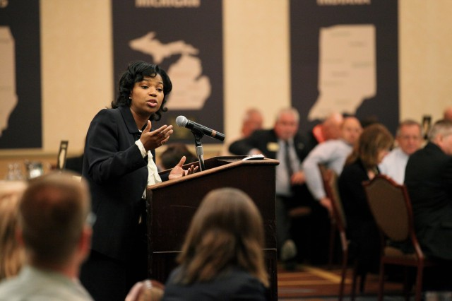 Shaunya Murrill, FMWRC Chief of Outreach and Strategic Integration Division addresses community leaders during the culmination of the three-day session.