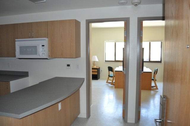 Pictured is a view from the kitchen area of the new $9 million barracks facility for the 51st TICO at Fort Irwin, Calif. The facility was opened to Soldiers on May 13, 2011.