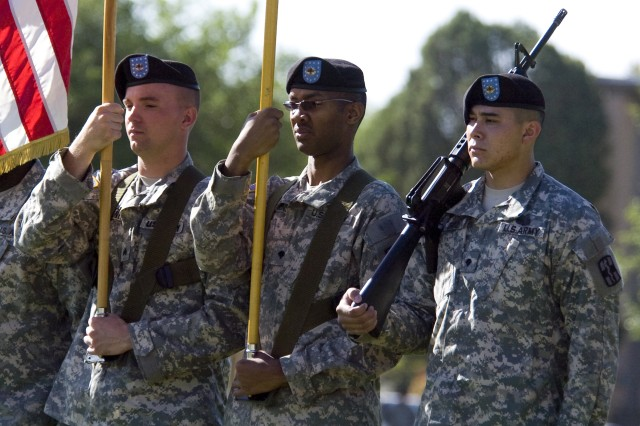 FORT BLISS, Texas (May 16, 2011) Soldiers from the 31st Combat Support Hospital, 1st Medical Brigade, parade the colors at Fort Bliss' main post, May 16. The 219th Medical Detachment (COSC) joined the ranks of the 31st CSH during a morning