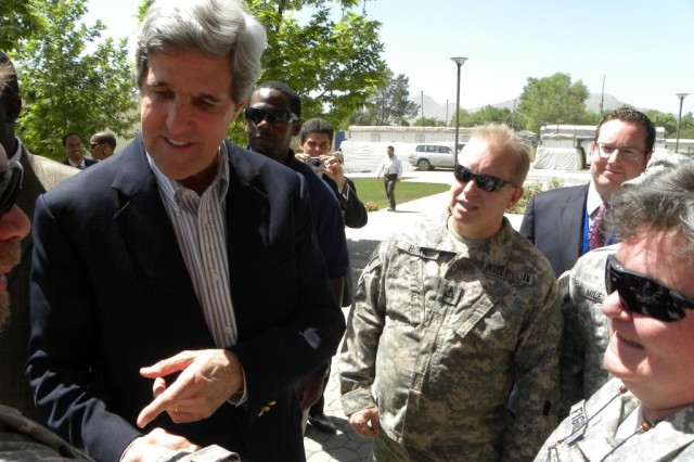 Sen. John Kerry met with several U.S. Army Corps of Engineers Afghanistan Engineer District employees, May 15 and thanked them for their work and service in Afghanistan. (photo by Paul Giblin)