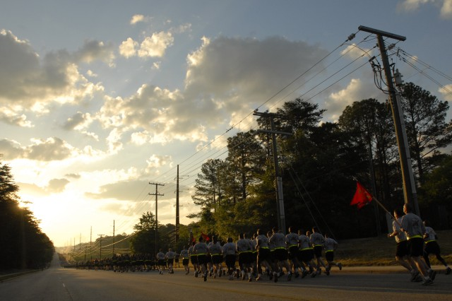Paratroopers of the 82nd Airborne Division take part in a unit-wide run here May 16, 2011, as part of the kick-off of All-American Week 2011. This year marks the first time all brigade combat teams have been home since 2006 for the event, which gives