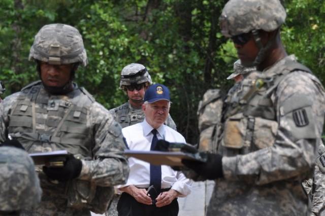 Secretary of Defense Robert Gates observes training at Fort Jackson, S.C., May 12, 2011.