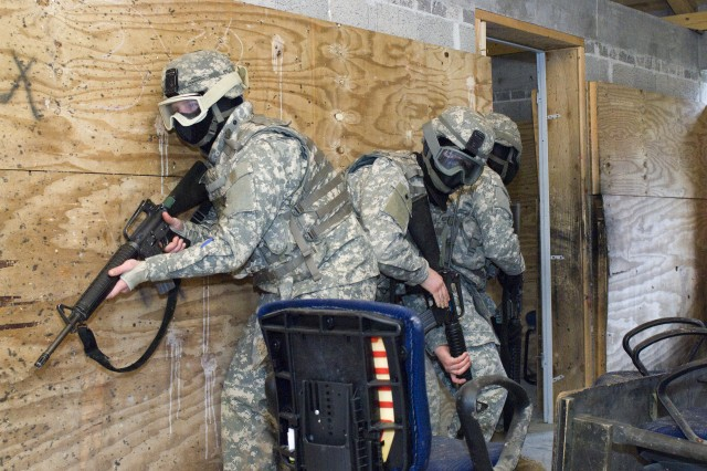 JTAGS Soldiers work to clear a building during Alpha Detachment's field training exercise in Stuttgart, Germany, April 11-15.