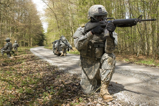 JTAGS Soldiers rehearse providing cover fire during Alpha Detachment's field training exercise in Stuttgart, Germany, April 11-15.