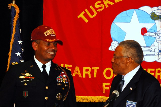 Maj. Gen. Vincent Brooks, commanding general of the 1st Inf. Div. and Fort Riley, shows off his new Tuskegee baseball cap May 14 as Tuskegee Airmen, Inc., Heart of America Chapter President Edward King looks on. (Photo by Mollie Miller, 1st Infantry