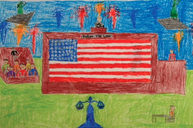 Wheeler Elementary School third-grade students depict their views of law. Alex Bacon's design took top honors.