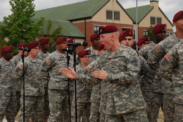 "The All American Chorus provides entertainment to other current Paratroopers and retired veterans at the 508th Parachute Infantry Regimental Picnic Tuesday. The performance by the chorus delighted attendees and included Airborne songs such as ""The"