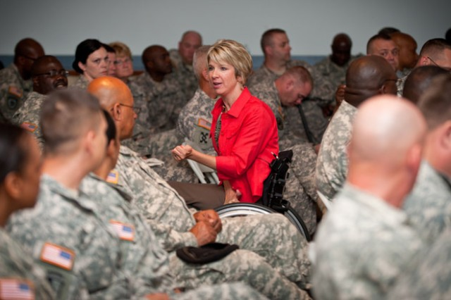 Ostrander speaks to troops