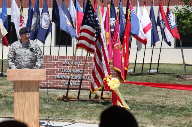 Col. Clark W. LeMasters, Jr., chief of ordnance, officiates the Ordnance School's ribbon cutting and memorialization ceremony during Ordnance Week. The five buildings, Miley, Hatcher, Dickson, Porter and Cohen Halls, dedicated during the ceremony