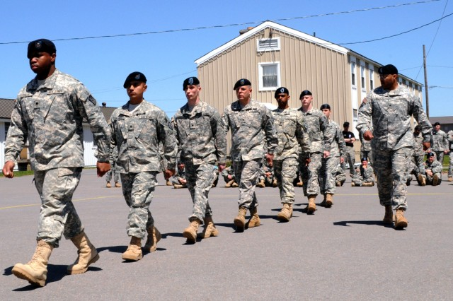Soldiers from Warrior Leader Course 2nd Squad march in line during the drill and ceremony competition May 10. Four squads competed for Top Squad, a new addition to the course curriculum.