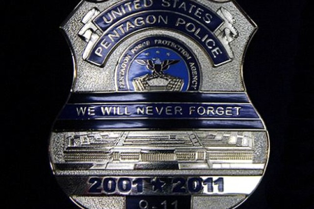 In honor of the 10th anniversary of the 9/11 attacks the Pentagon Police force have redesigned their badge to commemorate the events of that day. The badge features the Pentagon and the agency's crest.