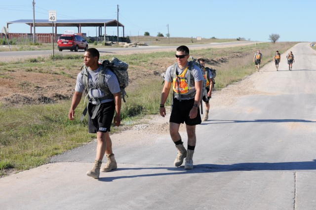 FORT HOOD, Texas - Soldiers from A. Company, 15th Brigade Support Battalion, 2nd Brigade Combat Team, 1st Cavalry Division, participate in a ruck march as part of the A. Co. Regulator Challenge on Fort Hood April 26-27.