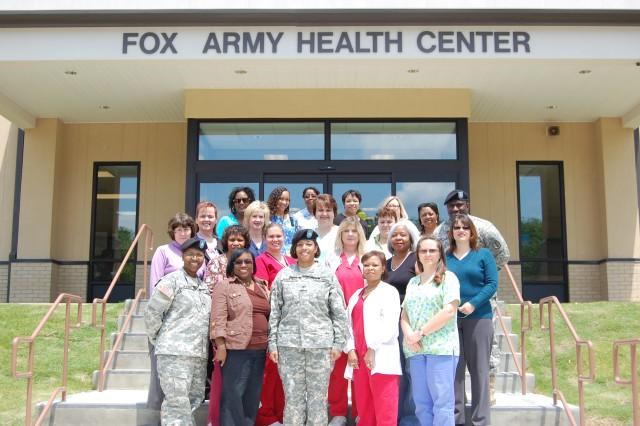 Fox Army Health Center nurses gather outside in celebration of Nurses Week, May 6-12.