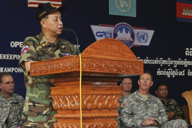 Lt. Gen. Sem Sovanny, director-general of the National Center for Peacekeeping Force, Mine and Explosive Remnants of War Clearance, Royal Cambodian Armed Forces, speaks to Soldiers gathered May 18, 2011, for the opening ceremony of Angkor Sentinel 2011
