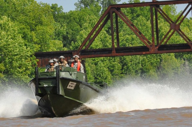 Louisiana National Guard members from the 2225th Multi-Role Bridge Company, 205th Engineer Battalion, train for search and rescue missions in the Red River in Rapides Parish, La., May 18, 2011. The Soldiers are staged at Camp Beauregard, La., in the
