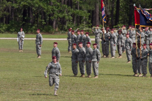 The 82nd Airborne Division's review of troops officially begins as an adjutant runs across the parade ground and calls the troops to order May 19, 2011, at Fort Bragg, N.C.  The review is on the fourth day of All American Week, an annual event of