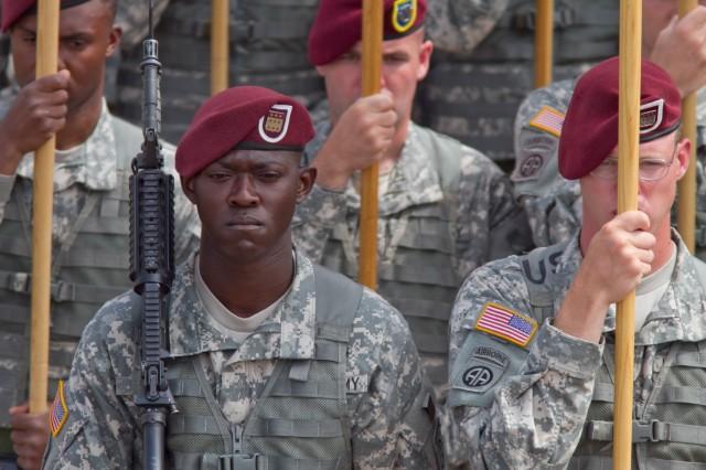 Paratroopers with the 82nd Airborne Division serve on a color guard for an official review of troops May 19, 2011, at Fort Bragg, N.C.  The review is one of many events during All American Week, a time of remembrance and celebration for the storied Army