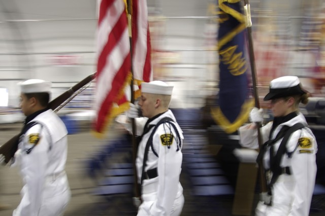 A procession of members of the U.S. Navy Sea Cadet Corps was featured during the Massing of the Colors ceremony in the Pavilion. More than 50 color guards from the area were represented during the 25th anniversary of the annual event.