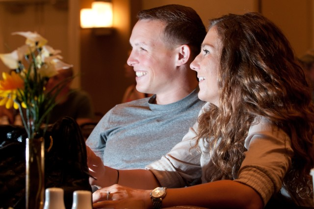 Capt. Brian James, a company commander with 1st Battalion, 504th Parachute Infantry Regiment, 1st Brigade Combat Team, 82nd Airborne Division, attends a Strong Bonds retreat at Myrtle Beach with wife, Olga, and 28 other couples, May 13-15, 2011.  His