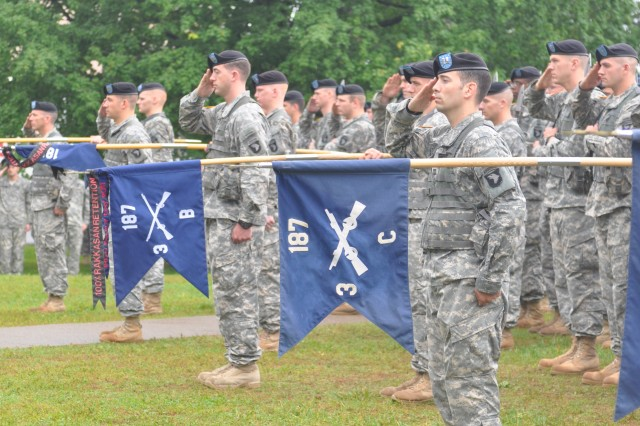 Companies of the 3rd Battalion, 187th Infantry Regiment, 3rd Brigade Combat Team, 101st Airborne Division, salute during May 13's memorial ceremony at the Rakkasan pylon, across from the Don F. Pratt Museum.