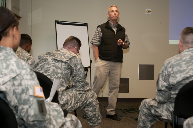 A Fort Riley ASAP employee briefs Soldiers of the Combat Aviation Brigade, 1st Infantry Division, May 18. Noncommissioned officers from the brigade attended training at the ASAP center as a professional development exercise designed to refresh them on