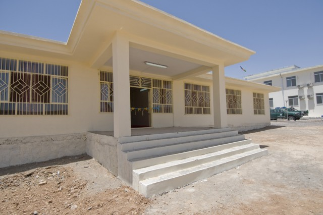 TAKTEH POL, Afghanistan -Subdistrict leaders unveiled the new district center in Takteh Pol, Afghanistan, May 16, 2011.  The new district center has 10 offices and a large shura hall, which will help promote efficiency within the government and allow