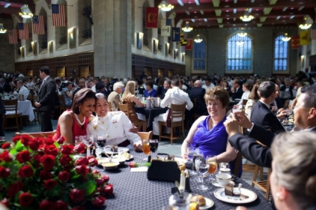 First Lady Michelle Obama poses for a photo while attending the West Point Graduation Banquet at the United States Military Academy in West Point, New York, May 20, 2011. (Official White House Photo by Samantha Appleton)
