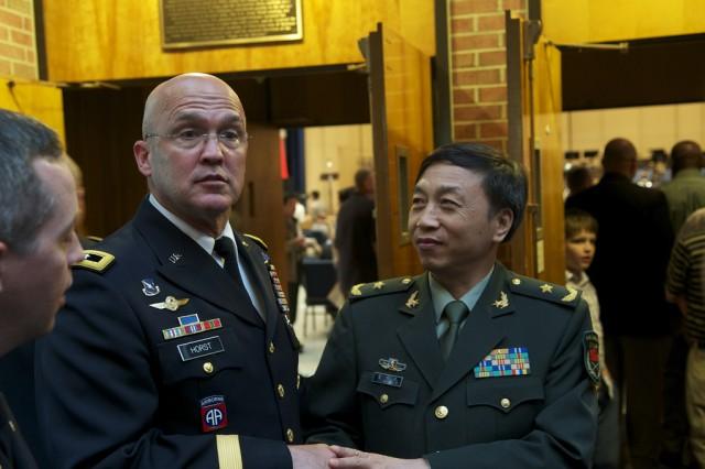 Maj. Gen. Karl R. Horst, commanding general of Joint Force Headquarters - National Capital Region, welcomed Maj. Gen. Shengquan Li to Brucker Hall.