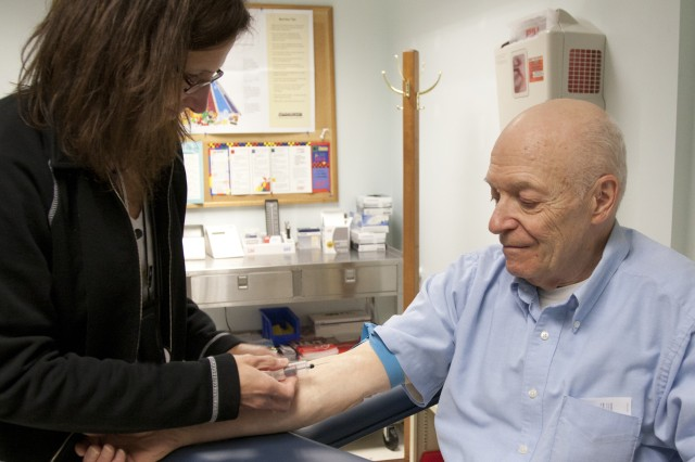 Raymond Seiz gets blood drawn