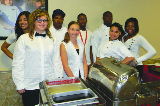 Teens from the Child, Youth and School Service Hired! program prepare to serve 180 guests during a Mother's Day brunch.