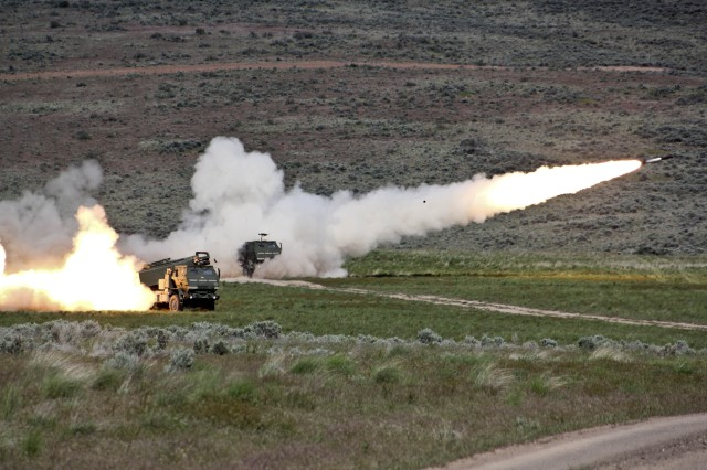 Soldiers of the 17th Fires Brigade fire from high mobility artillery rocket systems during a fire coordination exercise designed to train senior leaders on proper procedures for requesting and directing fire support at Yakima Training Center, Wash., May