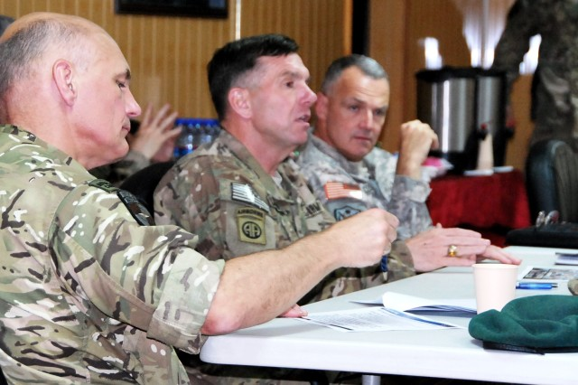 British Brig. Bill Dunham, NTM-A/CSTC-A chief of staff, takes notes as Lt. Gen. William B. Caldwell IV, commanding general, NTM-A/CSTC-A, speaks as Brig. Gen. Tom Cosentino, deputy commander, Regional Support, listens during day three of the Regional