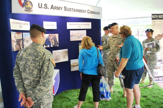 Visitors are given an understanding of the Army Sustainment Command's mission during the Rock Island Arsenal Armed Forces Day Open House.