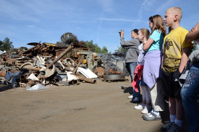 Grafenwoehr Elementary students toured the Bergler Sorting Plant, May 10, to learn about the process of sorting and recycling in conjunction with the Earth Day celebration.